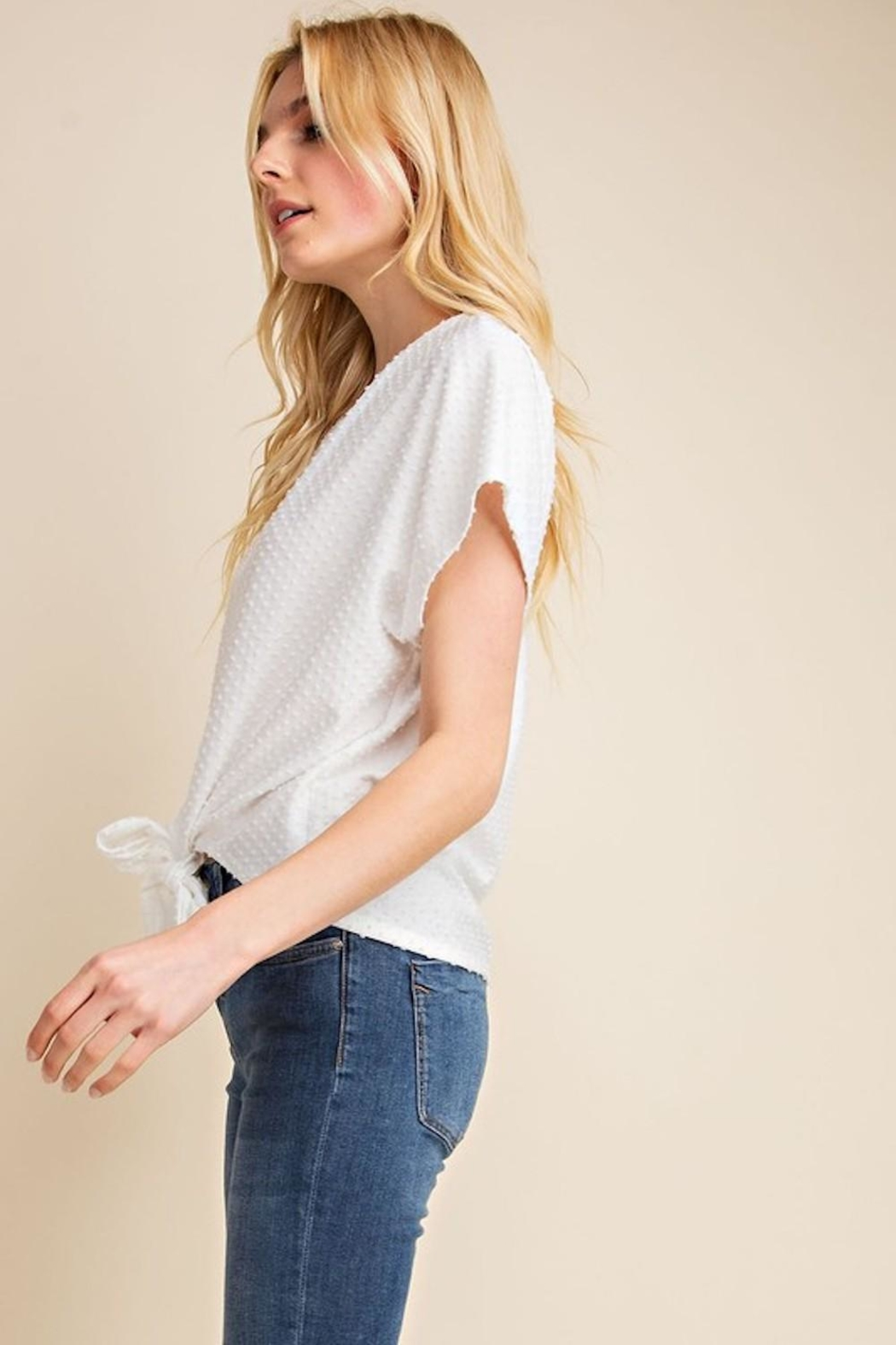Gilli White Dots-Knot Top - Back Cropped Image