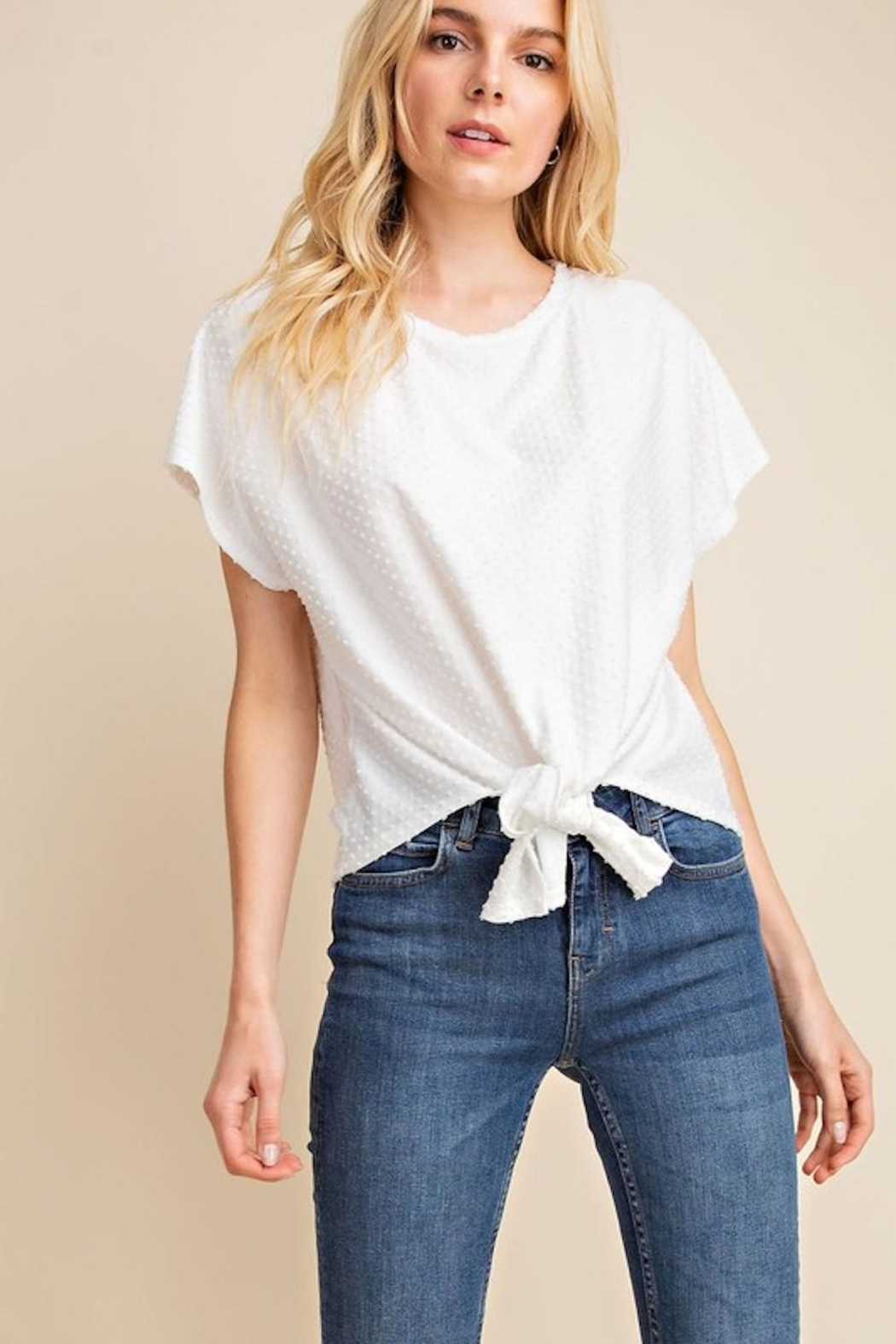 Gilli White Dots-Knot Top - Front Full Image