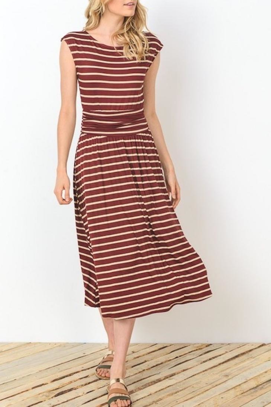 Gilli Wine Stripes Dress - Front Cropped Image