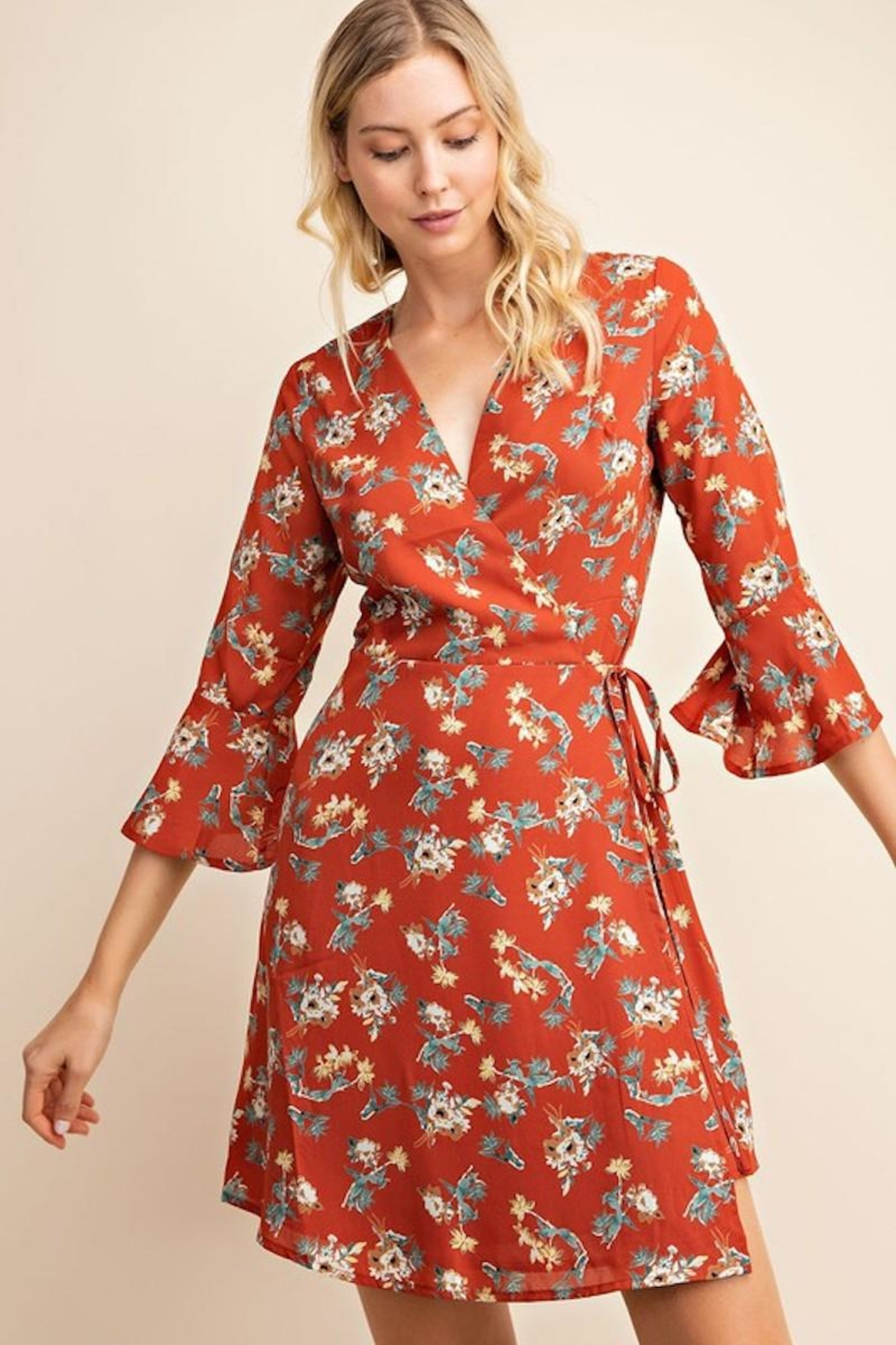 Gilli USA Rust Floral Wrap Dress - Main Image