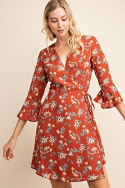 Gilli USA Rust Floral Wrap Dress - Front cropped