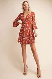 Gilli USA Rust Floral Wrap Dress - Back cropped