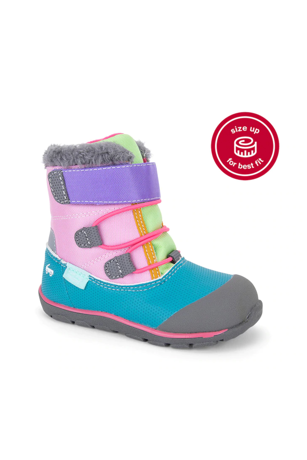 See Kai Run Gilman Waterproof Insulated Boot -  Pink/Teal - Side Cropped Image
