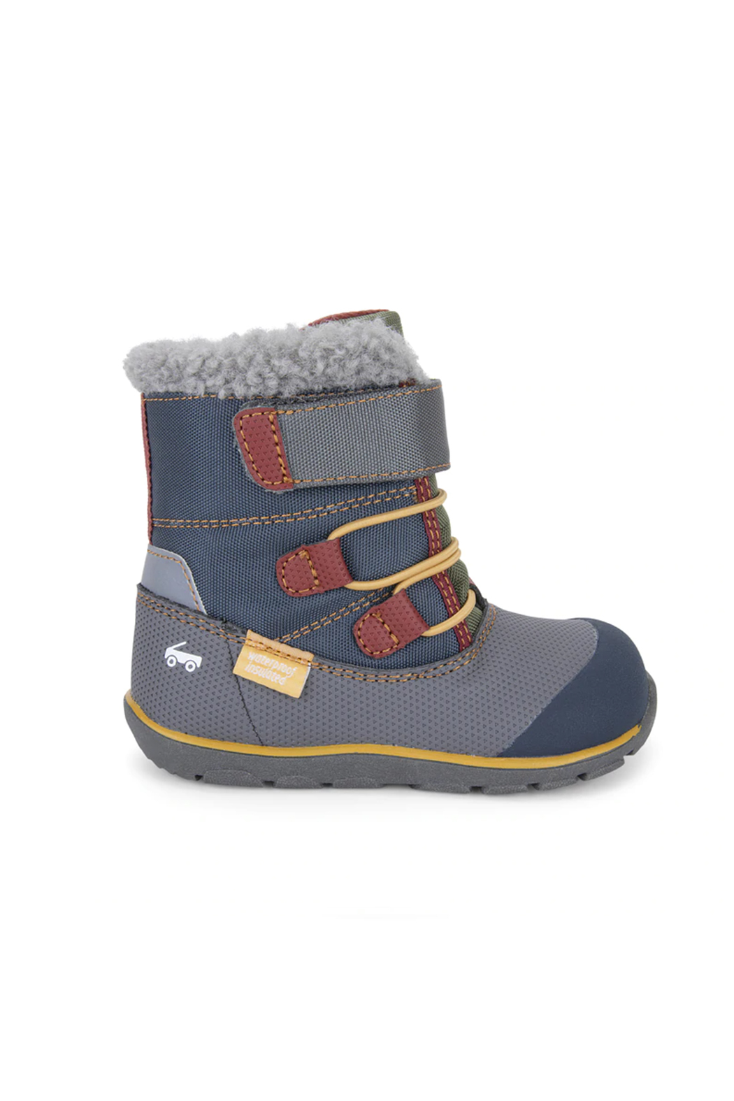 See Kai Run Gilman Waterproof Insulated Boots - Gray/Blue - Front Cropped Image