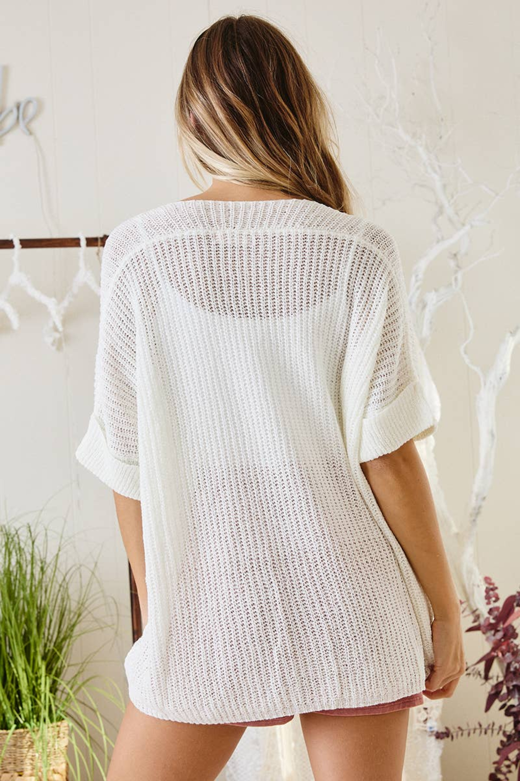 Ces Femme  Gina Lightweight Summer Sweater - Back Cropped Image