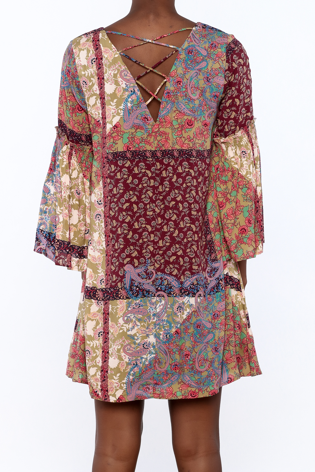 Gina Louise Bohemian Patchwork Dress - Back Cropped Image