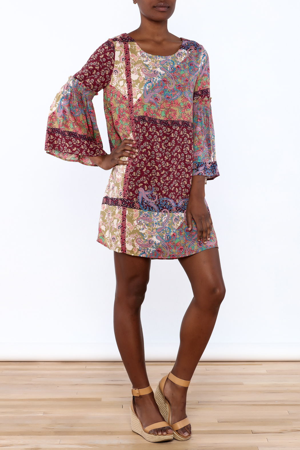 Gina Louise Bohemian Patchwork Dress - Front Full Image