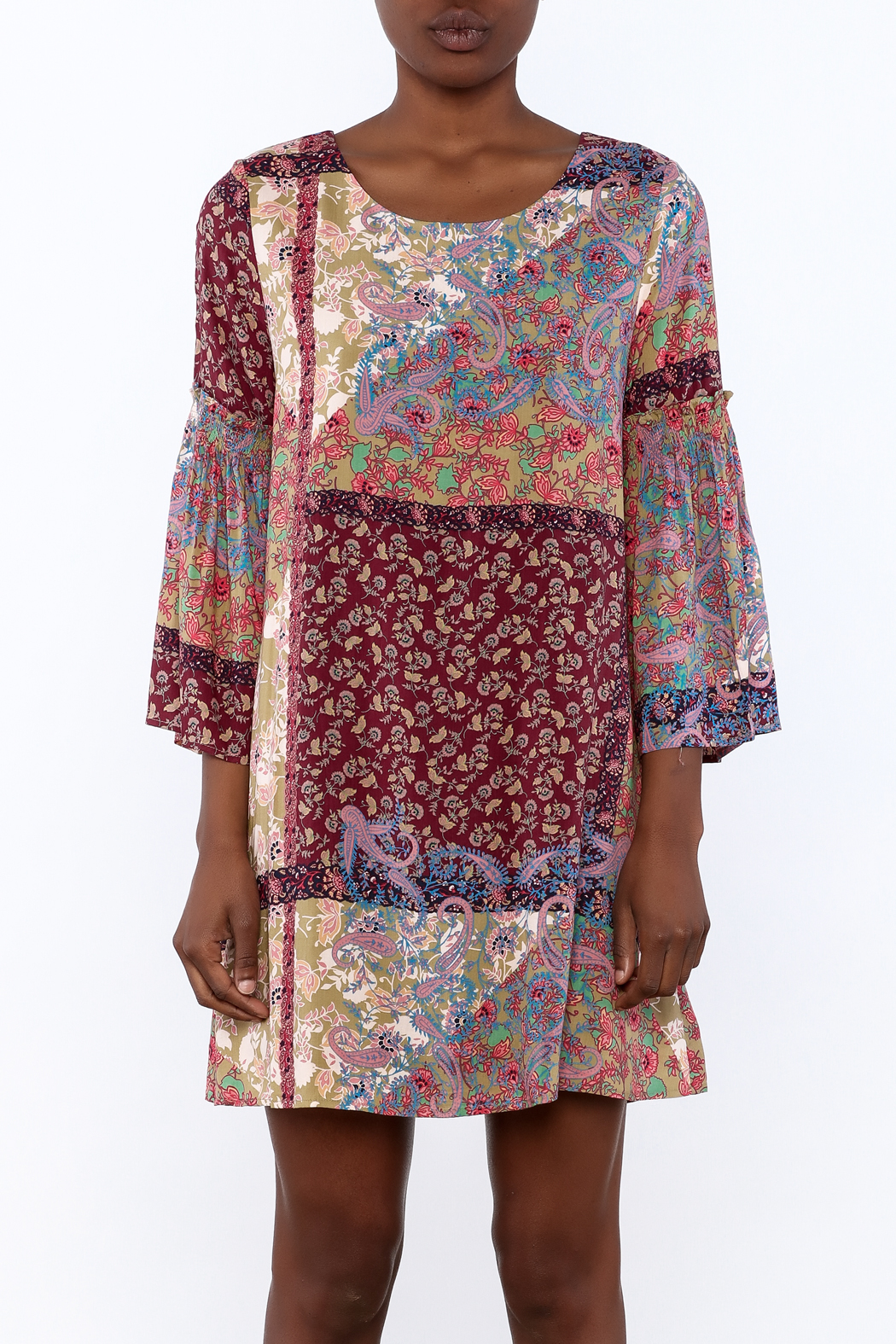 Gina Louise Bohemian Patchwork Dress - Side Cropped Image