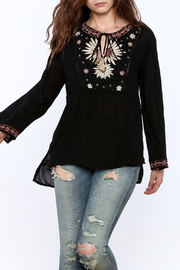 Gina Louise Black Embroidered Tunic Blouse - Product Mini Image