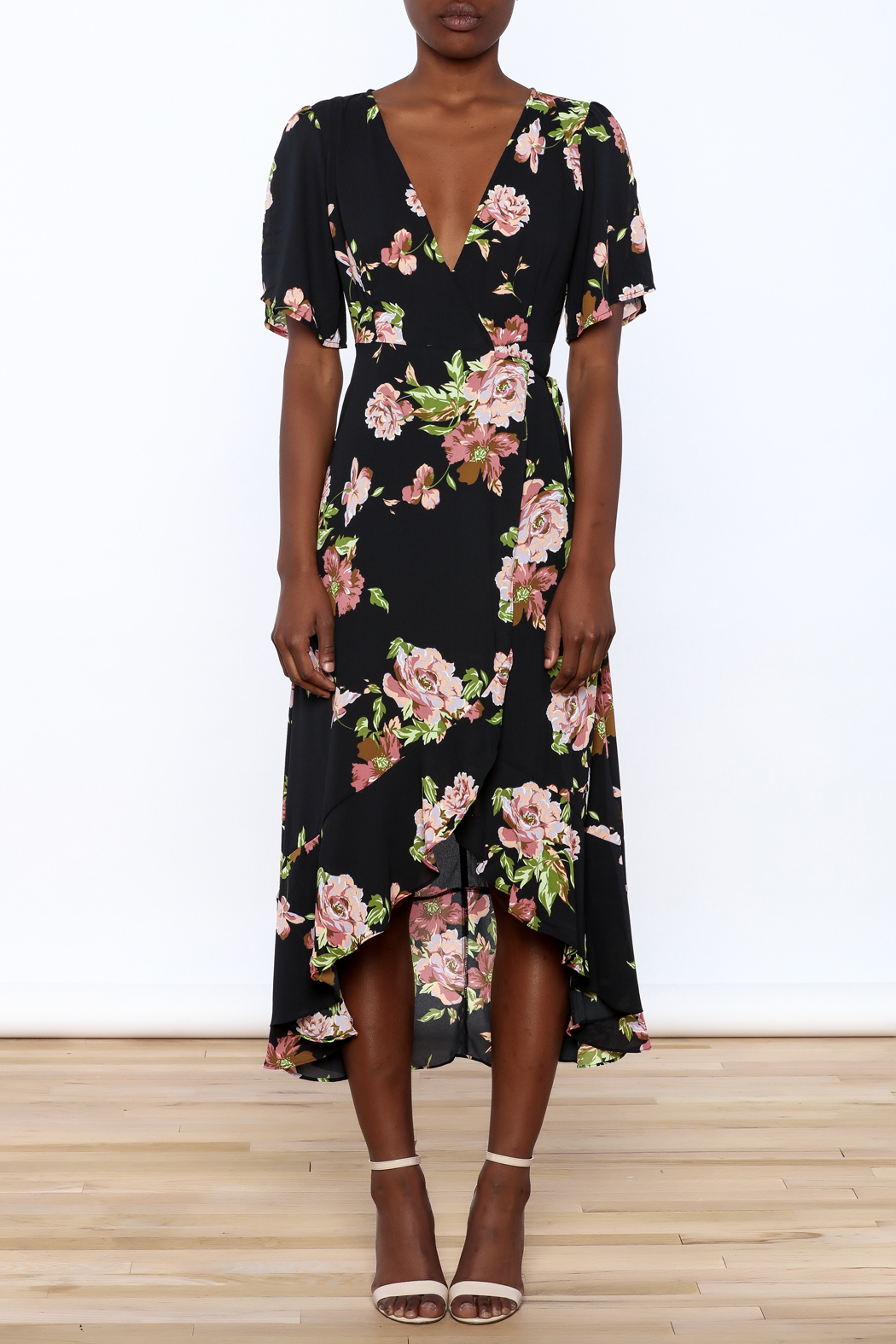 Gina Louise Floral Wrap Dress - Front Cropped Image