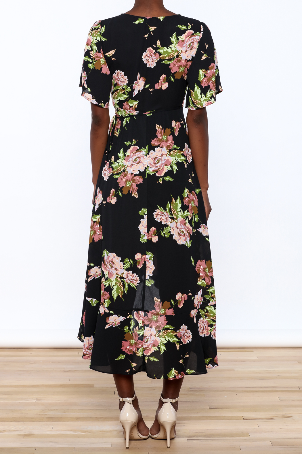 Gina Louise Floral Wrap Dress - Back Cropped Image