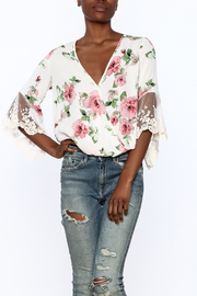 Gina Louise Lovely White Floral Blouse - Product Mini Image