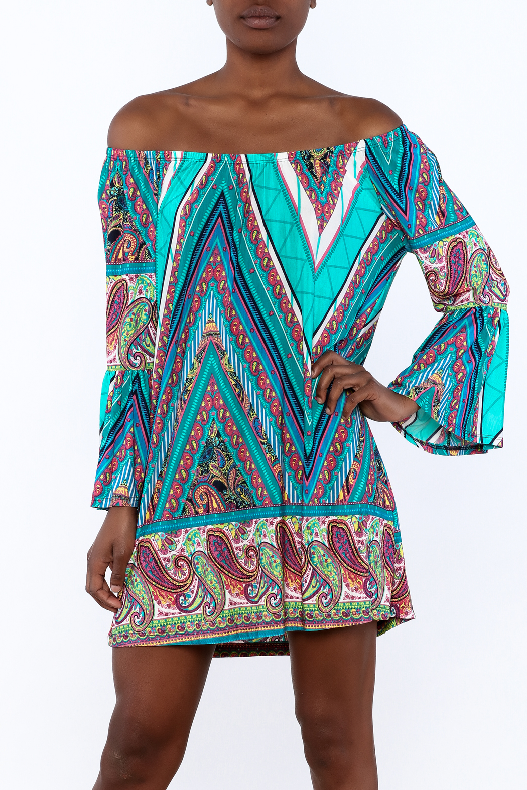 Gina Louise Seaside Blues Dress - Front Cropped Image