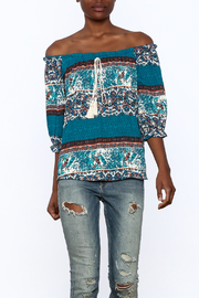 Gina Louise Teal Bohemian Top - Product Mini Image