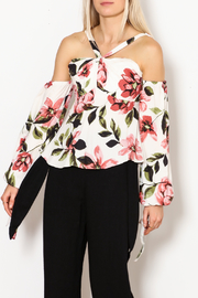 Olivaceous Gina Off The Shoulder Print Top - Front cropped