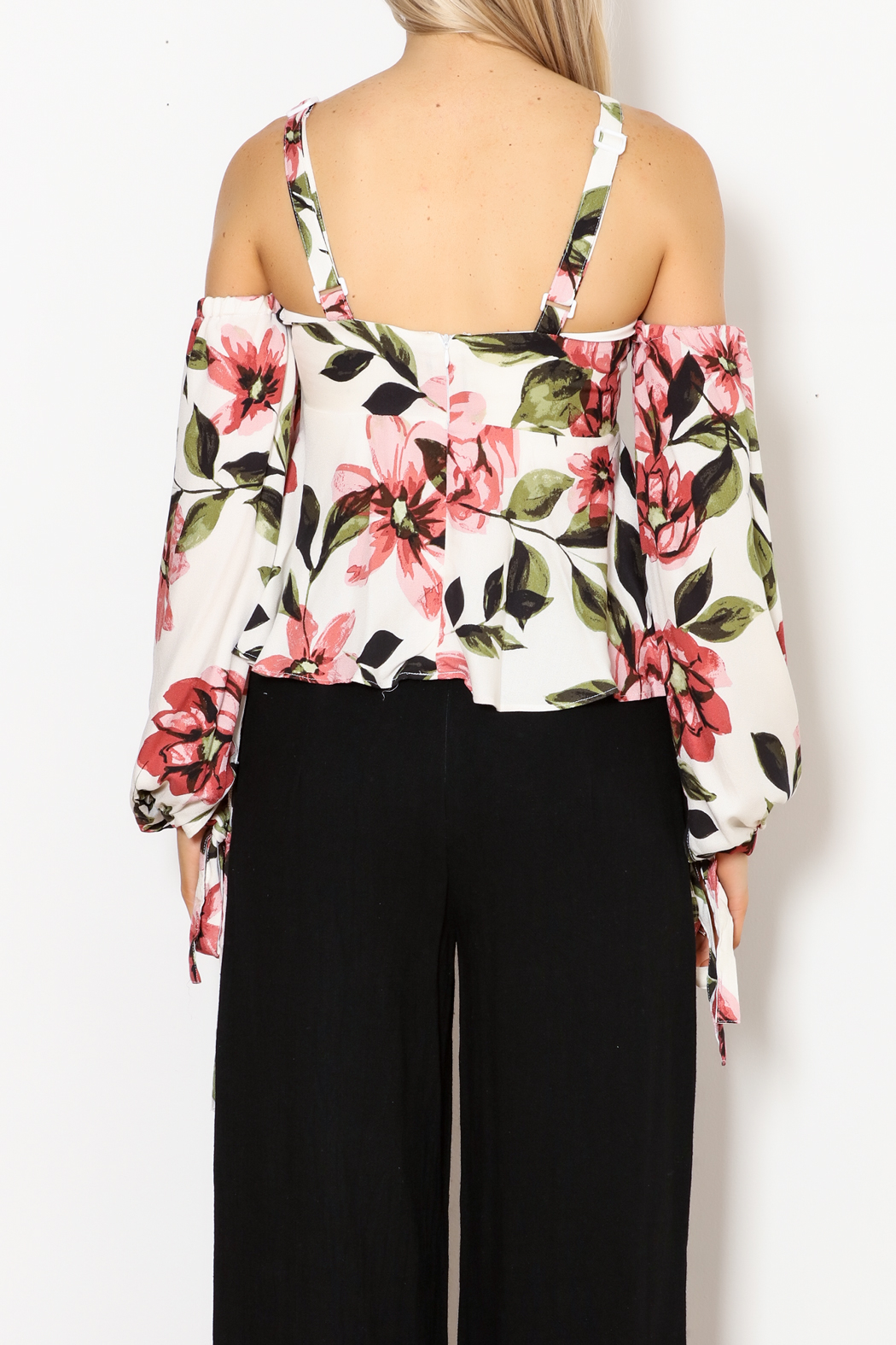 Olivaceous Gina Off The Shoulder Print Top - Back Cropped Image