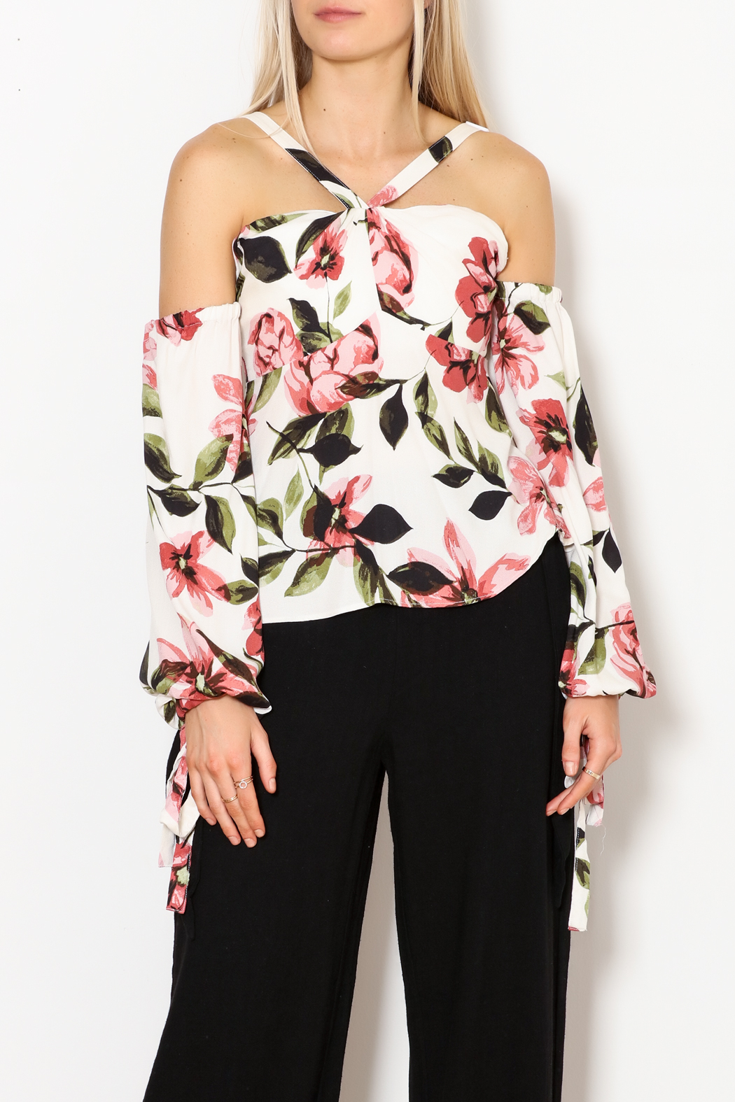 Olivaceous Gina OTS Floral Print Top - Side Cropped Image