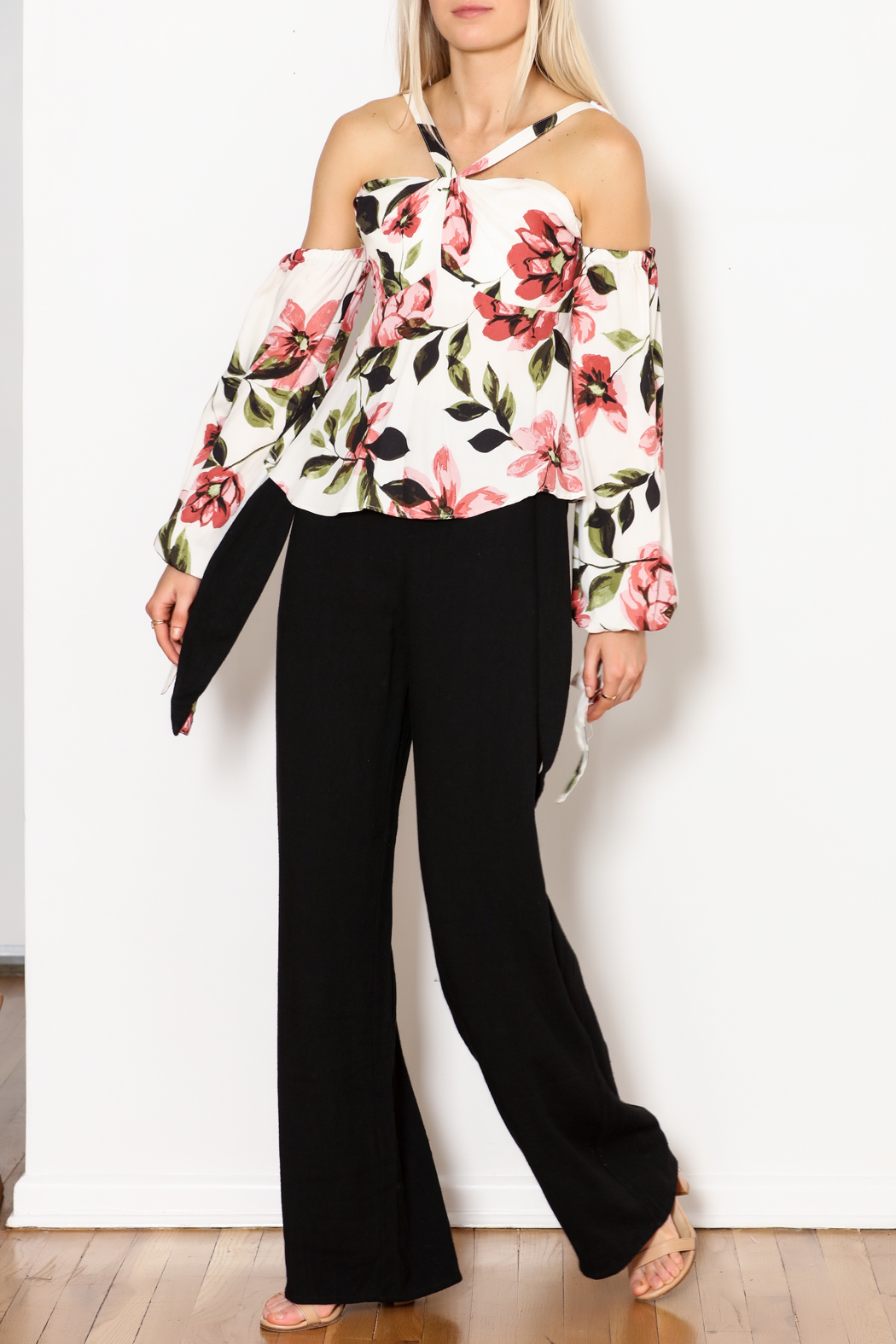 Olivaceous Gina OTS Floral Print Top - Main Image