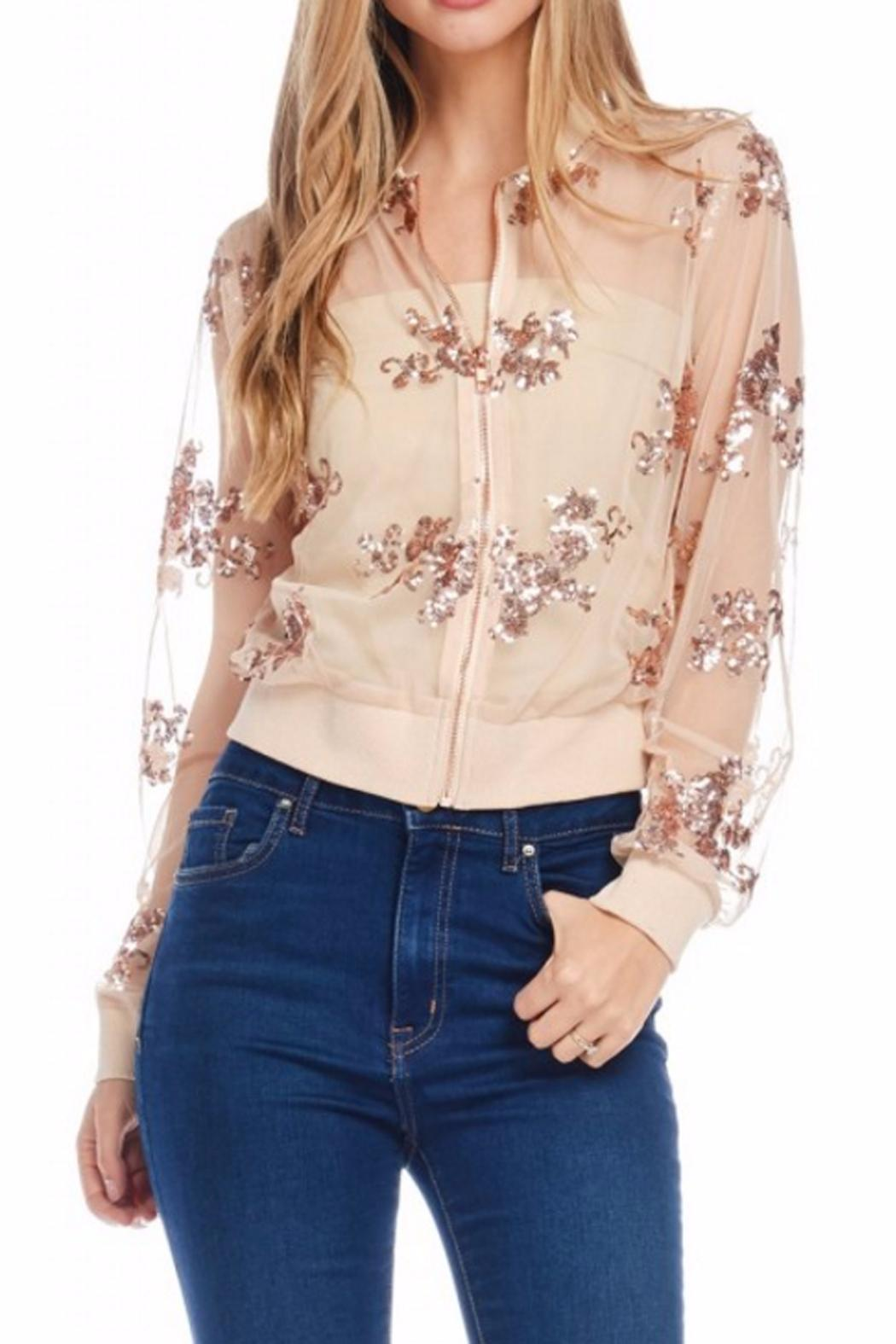 Gina Louise Cropped Sequin Jacket - Front Cropped Image