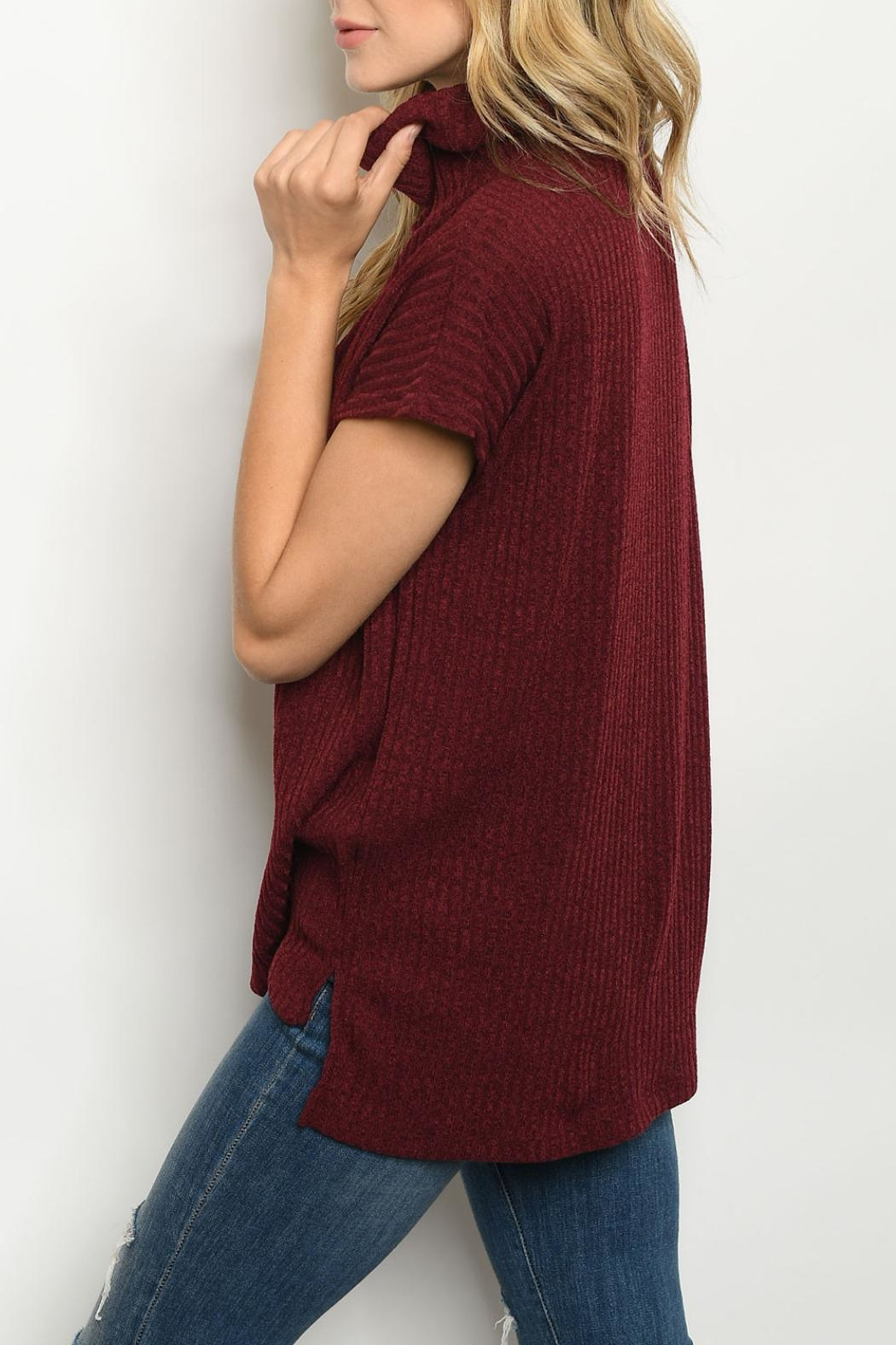 Ginger G Burgundy Cowl-Neck Top - Front Full Image