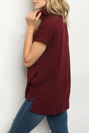 Ginger G Burgundy Cowl-Neck Top - Front full body