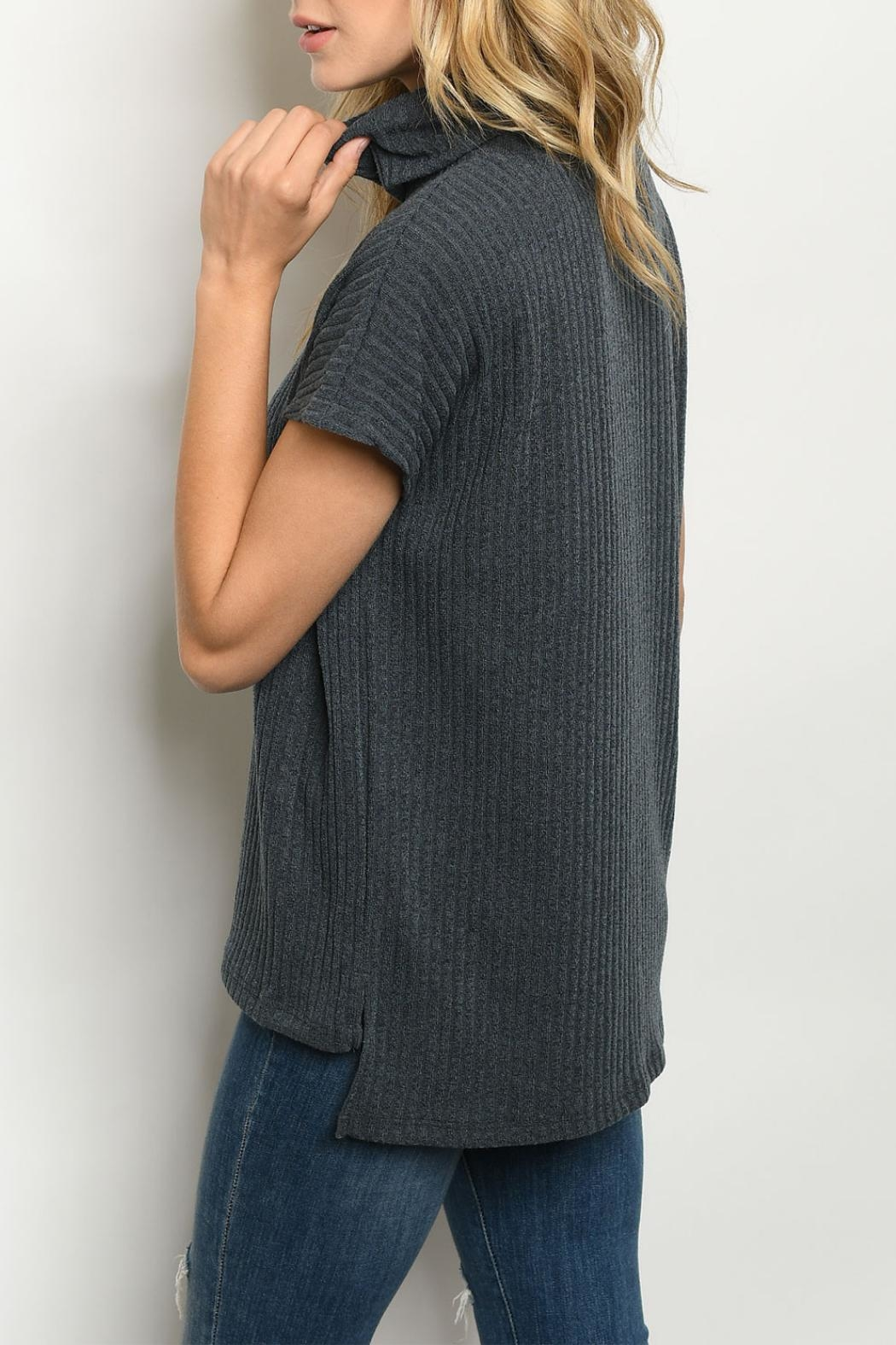 Ginger G Charcoal Cowl-Neck Top - Front Full Image