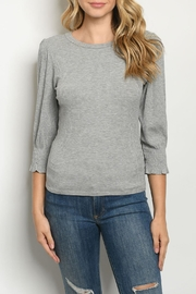Ginger G Grey Ribbed-Knit Top - Product Mini Image