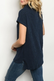 Ginger G Navy Cowl-Neck Top - Front full body