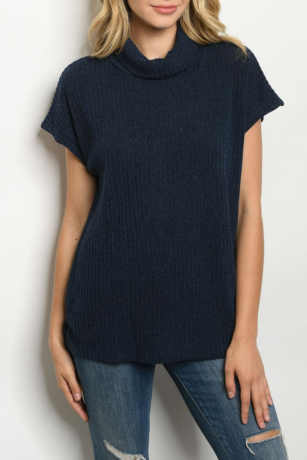 Ginger G Navy Cowl-Neck Top - Main Image