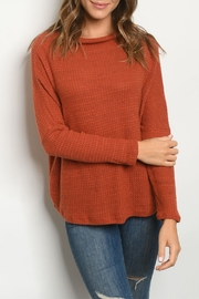 Ginger G Rust Waffle Sweater - Product Mini Image