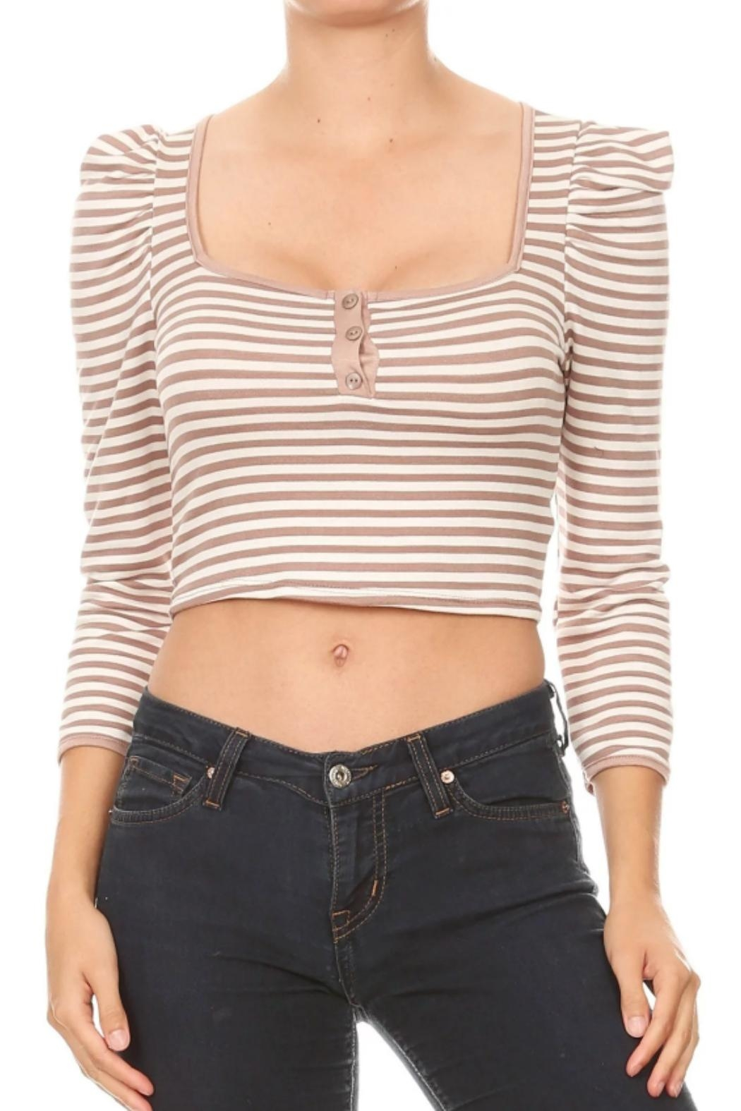 Ginger G Striped Crop Top - Main Image