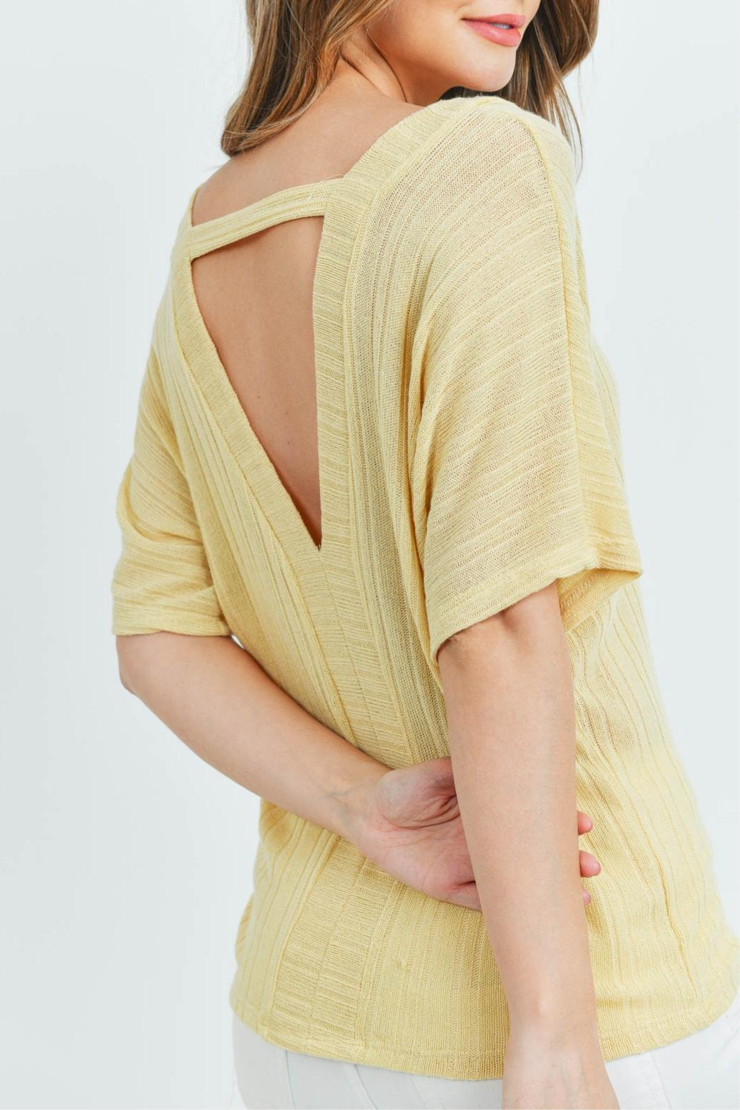 Ginger G Yellow Knit Top - Back Cropped Image