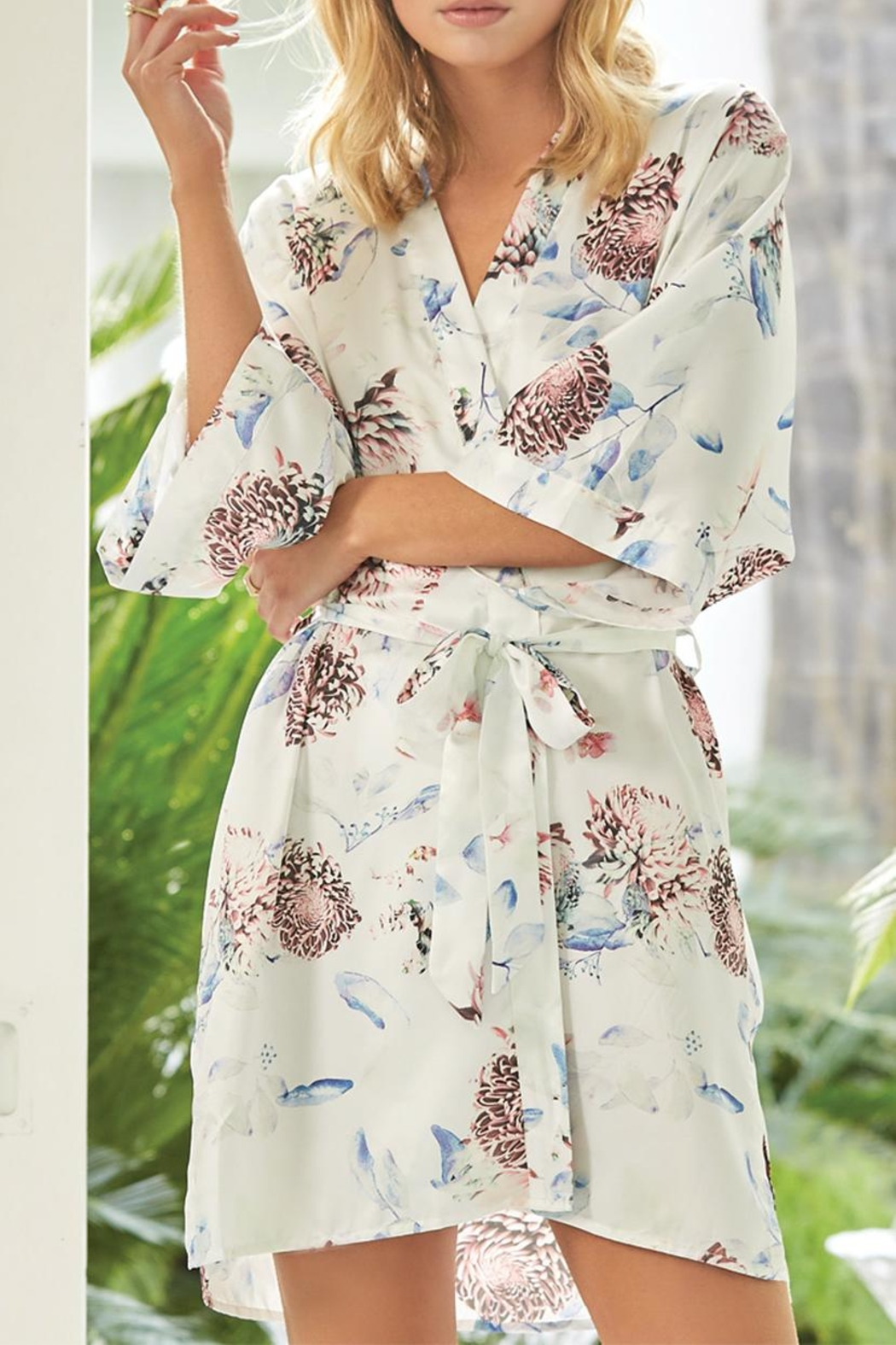 Gingerlilly Keely Satin Robe - Front Cropped Image