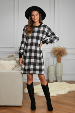 Shewin Gingham Balloon Sleeve Sweater Dress - Product List Image