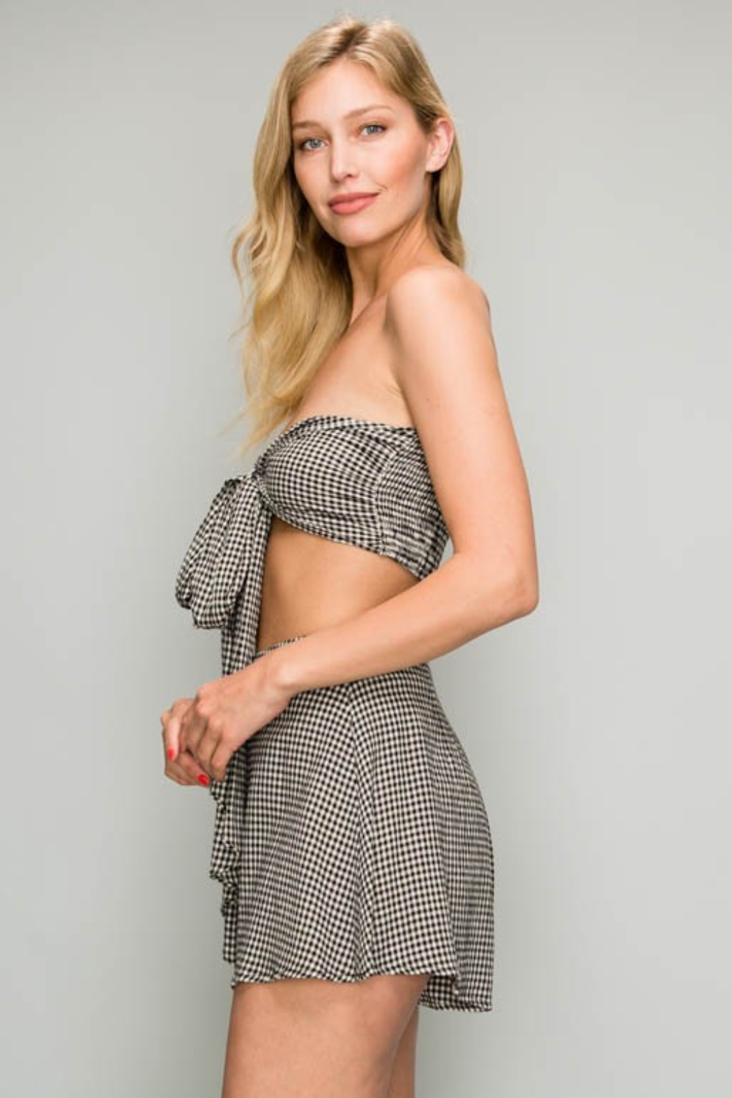 AAKAA Gingham Bandeau Top - Front Full Image