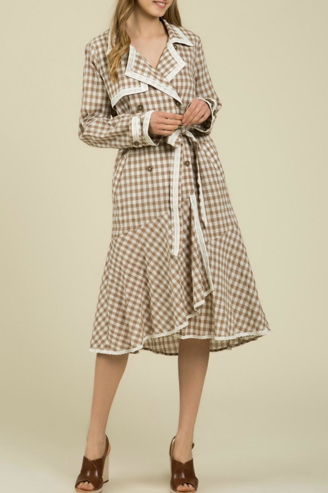 MHGS Gingham Coat Dress - Side Cropped Image