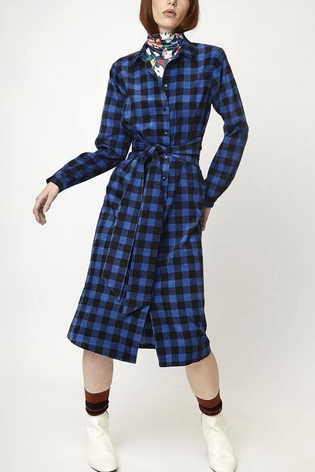 Compania Fantastica Gingham Corduroy Dress - Front Cropped Image