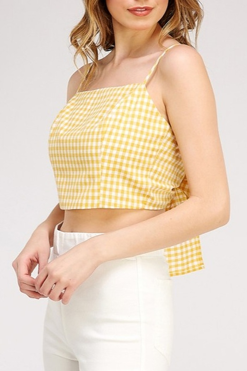 Newbury Kustom Gingham Crop Top - Front Cropped Image