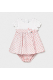 Mayoral Newborn Gingham Dress With Diaper Cover - Product Mini Image