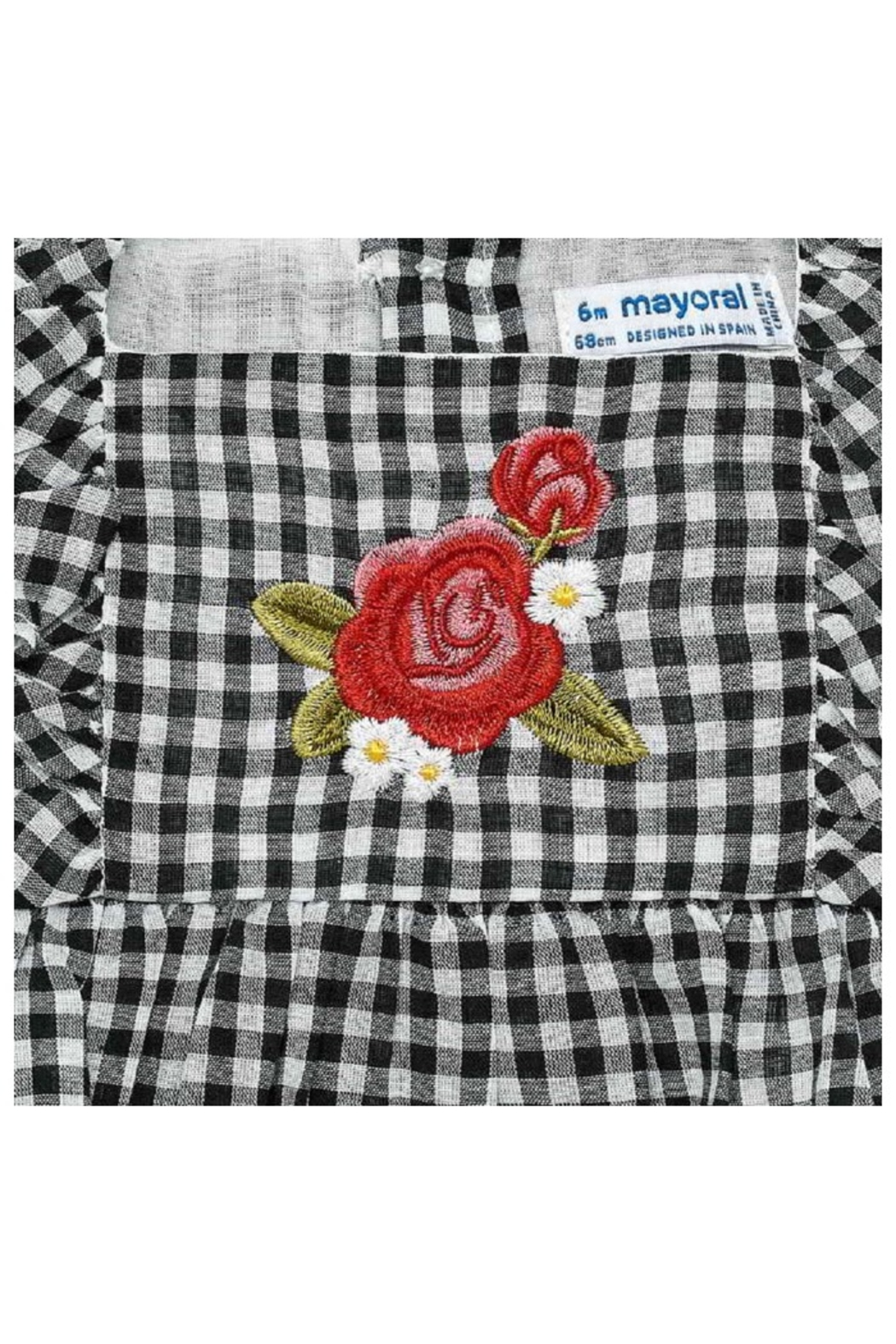 Mayoral Gingham Embroidered Blouse - Front Full Image
