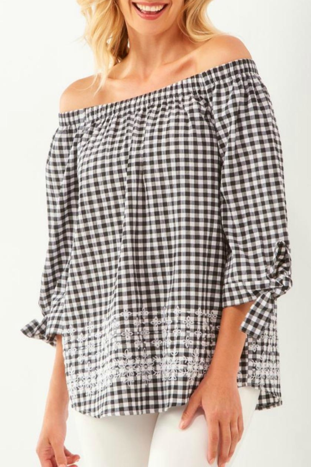Charlie Paige Gingham Embroidered Off-The-Shoulder - Main Image