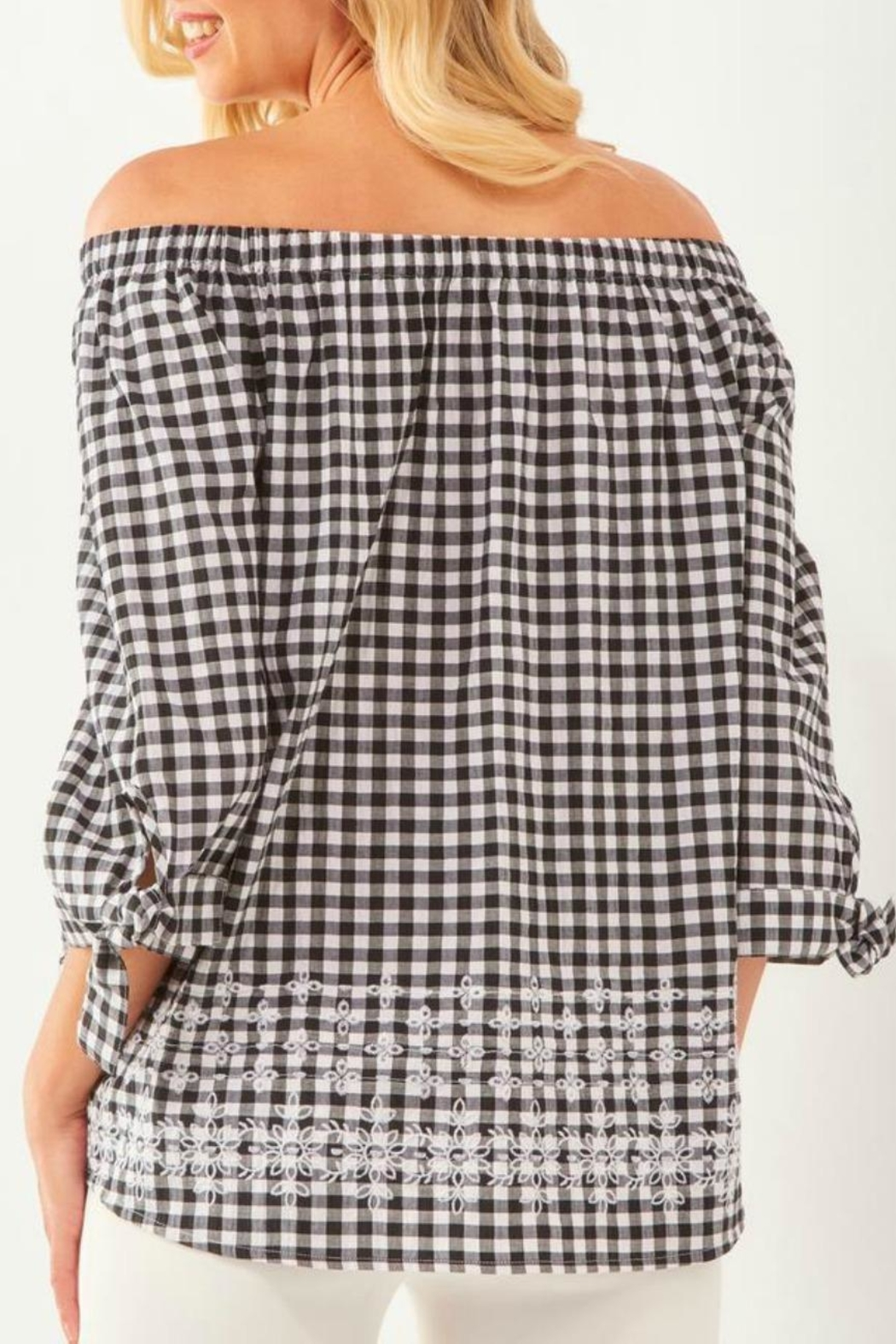 Charlie Paige Gingham Embroidered Off-The-Shoulder - Front Full Image