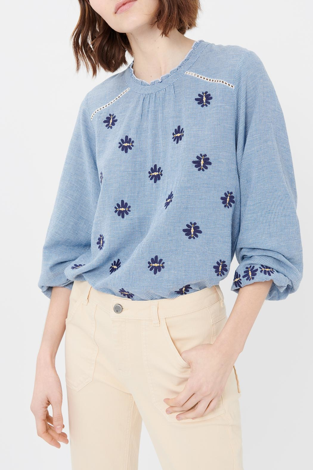 Acoté Gingham Embroidered Top - Side Cropped Image