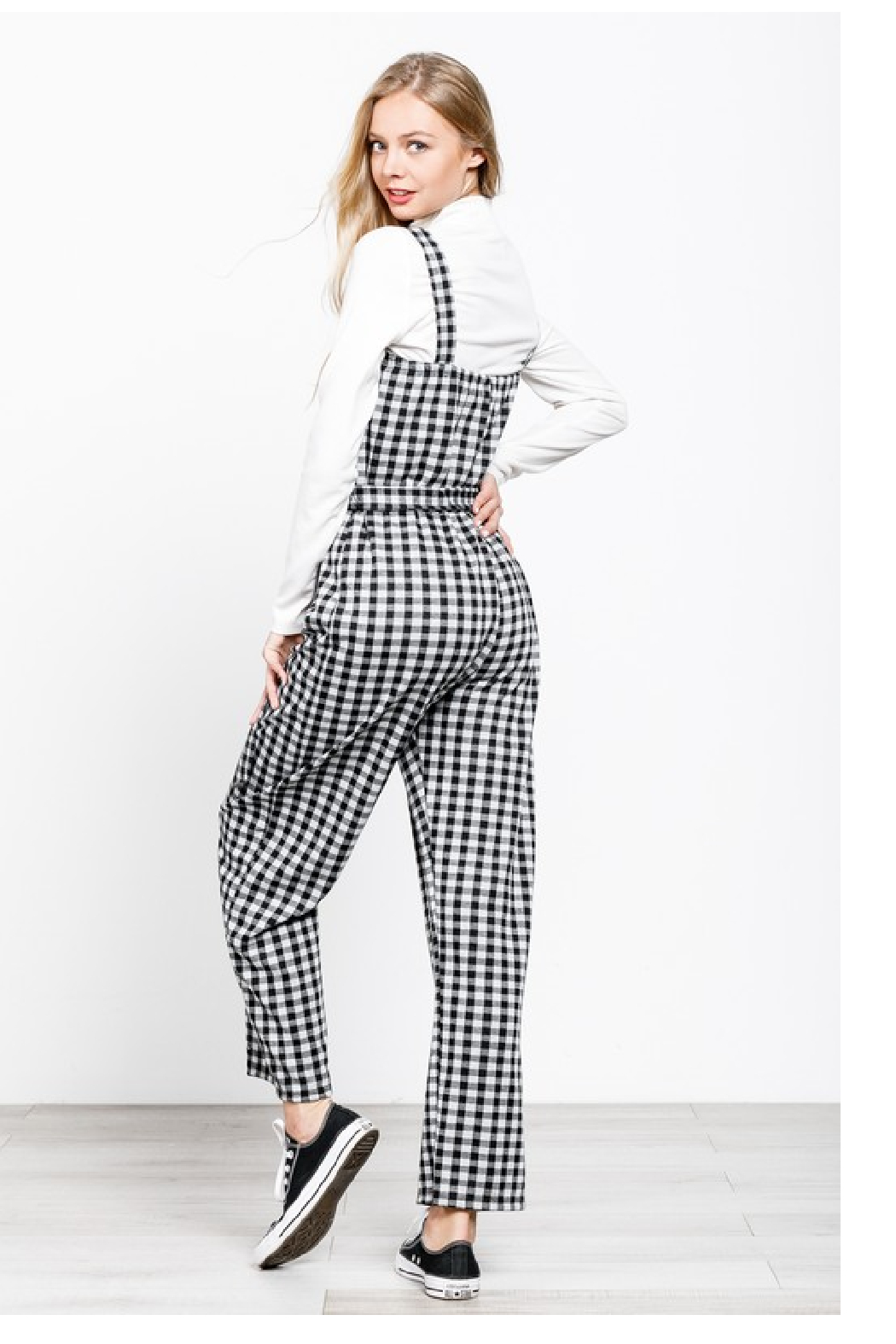MTS Gingham Jumpsuit - Front Full Image