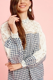 Listicle Gingham Lace Top - Front full body