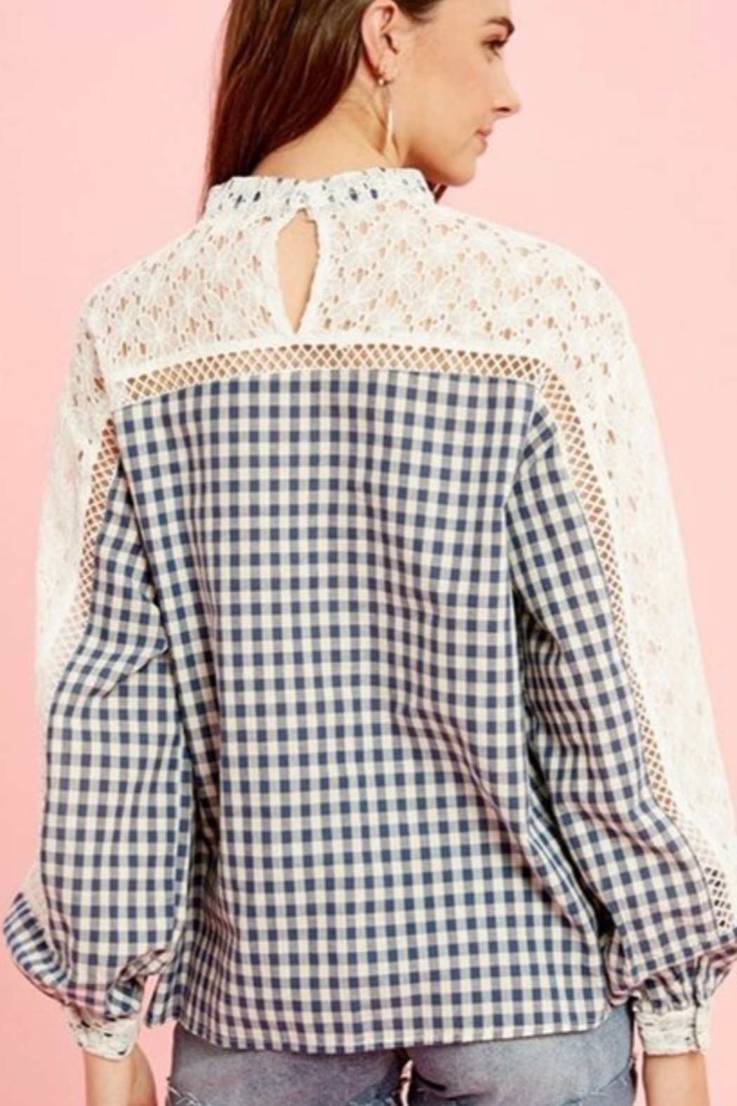 Listicle Gingham Lace Top - Main Image