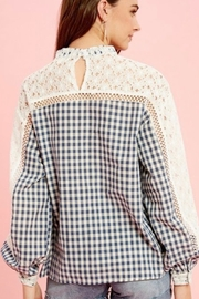 Listicle Gingham Lace Top - Product Mini Image