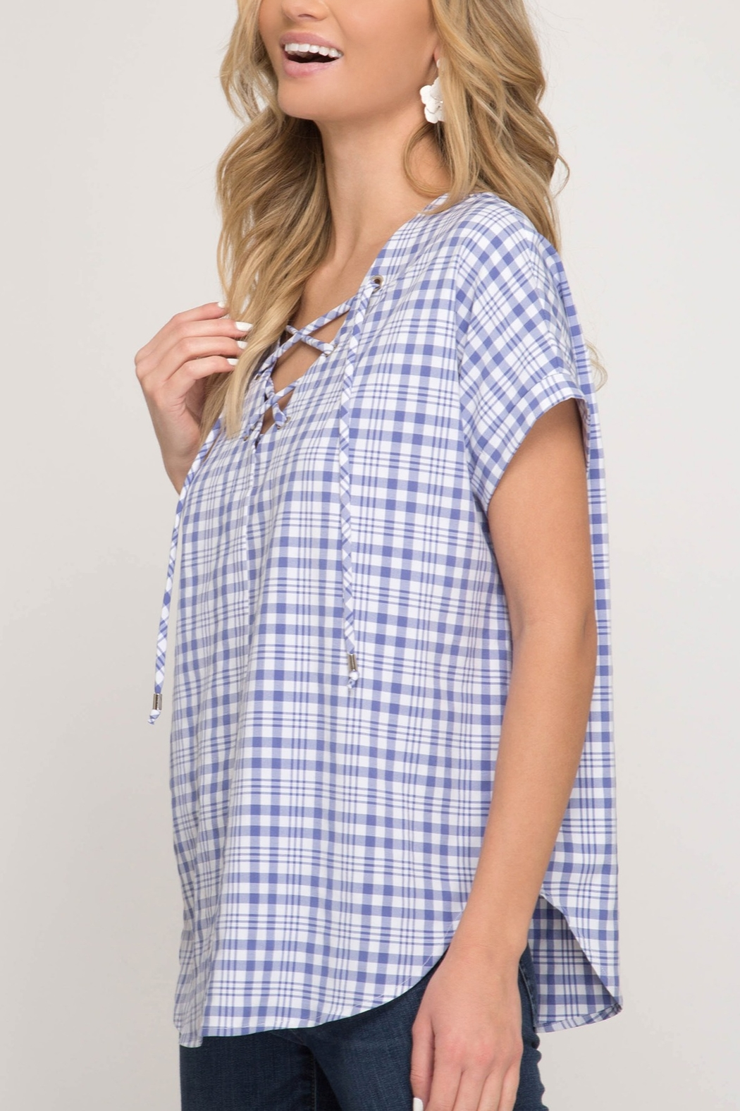She + Sky Gingham Lace Up Top - Front Full Image