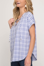 She + Sky Gingham Lace Up Top - Front full body