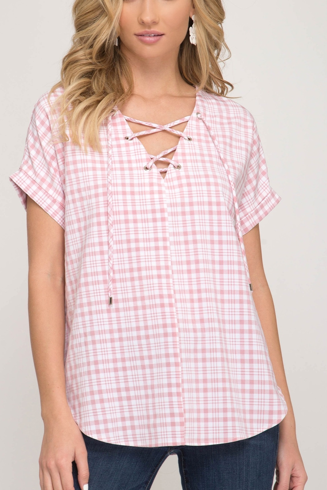 She + Sky Gingham Lace Up Top - Front Cropped Image